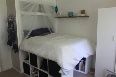 kallax bett raised bed inside built in wardrobe ikea hackers