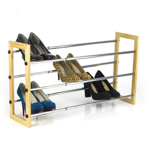 Warehouse Shoe Rack by Easier Storage 3 Tier Chrome Pine Expand Shoe Rack