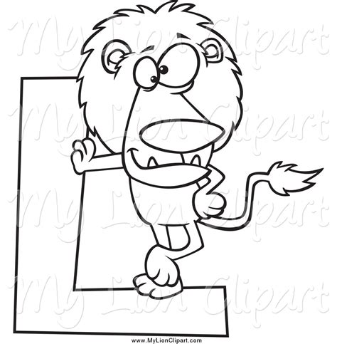 black and white l royalty free stock lion designs of cartoons