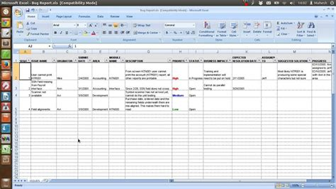 Defect Tracking Template Xls Youtube Issue Tracker Template