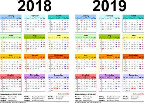 2018 Calendar Year Two Year Calendars For 2018 2019 Uk For Excel