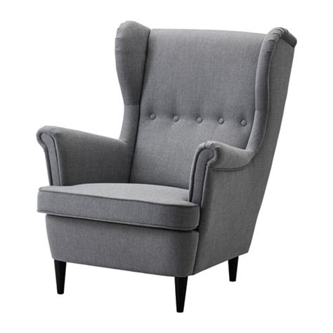 High Back Winged Leather Armchairs Strandmon Fauteuil 224 Oreilles Nordvalla Gris Fonc 233 Ikea