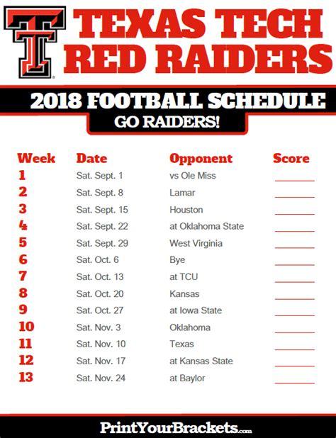 printable raiders schedule texas tech red raiders 2018 football schedule printable