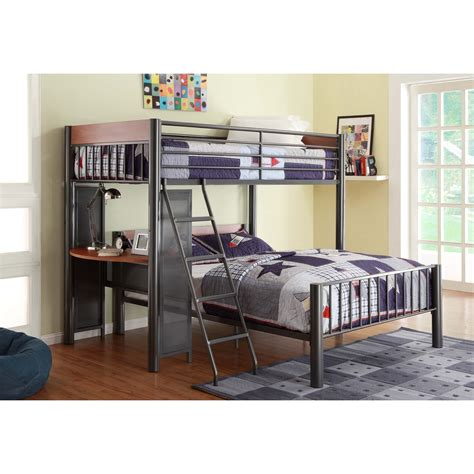 full loft bed with desk homelegance division contemporary twin over full loft bed