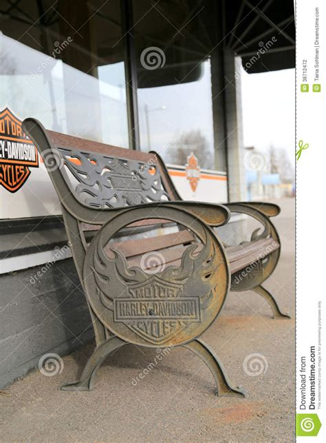 harley davidson bench vintage bench with harley davidson signage editorial photography image 38712472