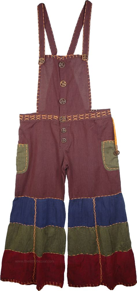Patchwork Overalls - bohemian patchwork overalls in purple clothing sale on
