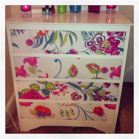 Decoupage Using Wallpaper - beautiful chest of drawers painted floral wallpaper