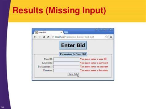 pattern validation jsf jsf 2 tutorial validating user input form field