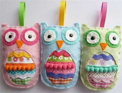 felt owl hanging decoration by paper and string