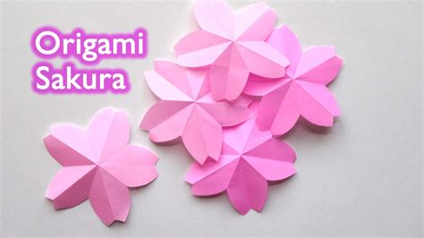 How To Make Cherry Blossoms Out Of Paper - origami flower cherry blossom 折り紙 桜 サクラ 切り方