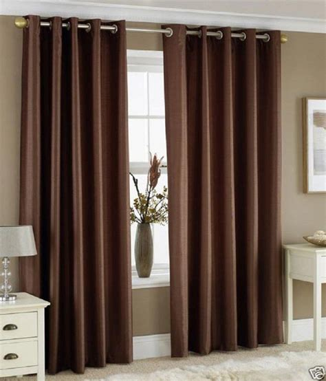 brown and tan curtains freehomestyle single window eyelet curtain plain brown