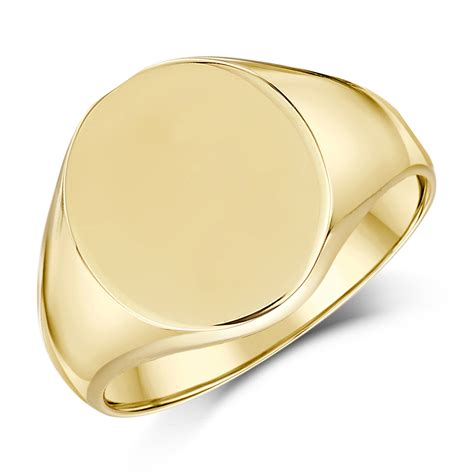 9ct yellow gold s oval shape heavy weight signet ring