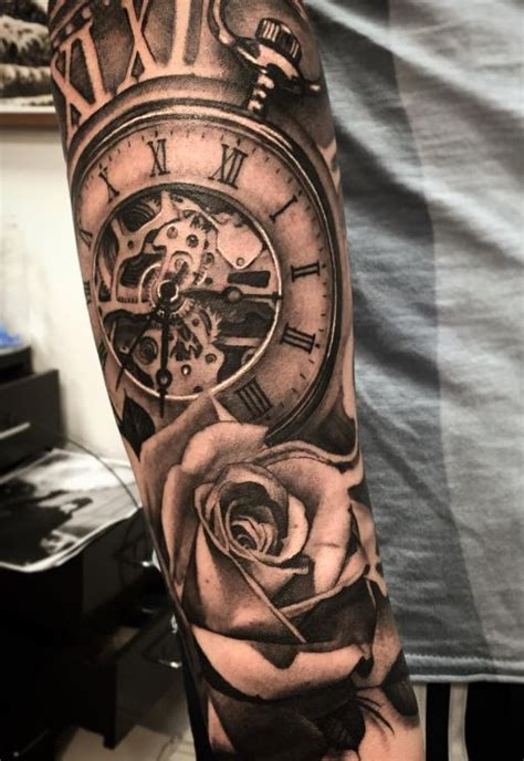 tattoo arm watch pocket watch and flower tattoo inkstylemag
