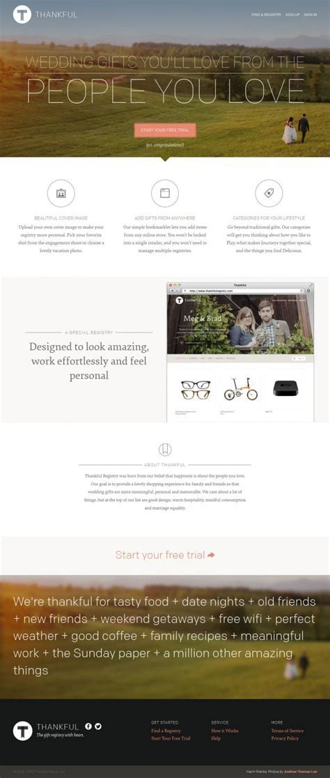 Wedding gifts   Thankful Registry   Webdesign inspiration