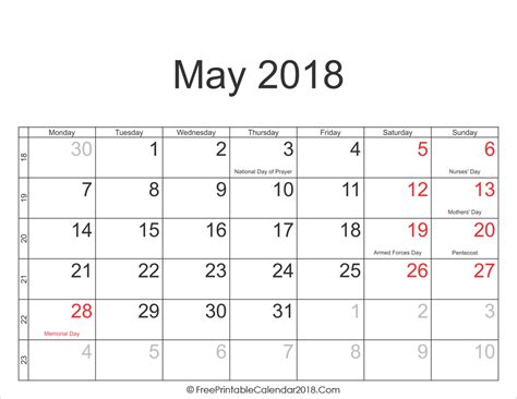 Calendar 2018 By Week Number May 2018 Calendar Templates
