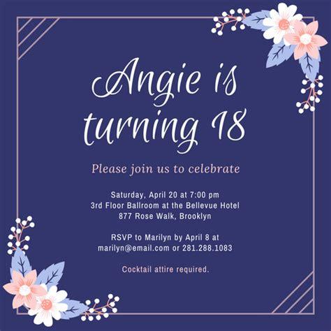 sle layout debut invitation purple and pink flowers 18th birthday invitation