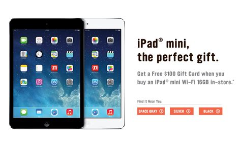 Radioshack Gift Card Discount - radioshack offering free 100 gift card with purchase of 16gb wi fi ipad mini
