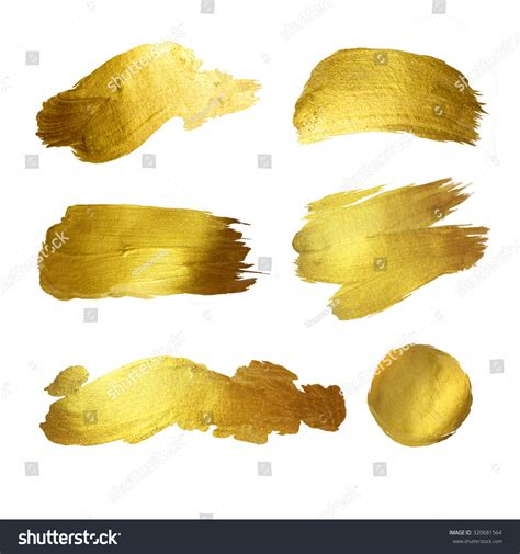 gold watercolor texture paint stain abstract illustration set shining brush stroke for you