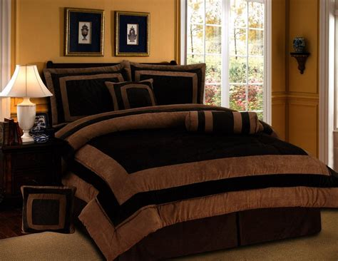 chocolate brown set 7 pieces chocolate brown suede comforter set king bedding