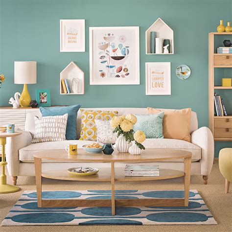 teal blue and oak living room decorating ideal home