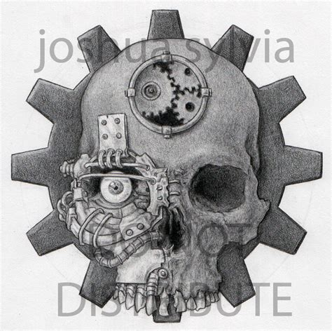 mechanical skull by joshuasylvia on deviantart