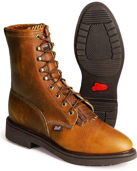 justin steel toe lace up boots justin s original 8 quot lace up work boot steel toe 767