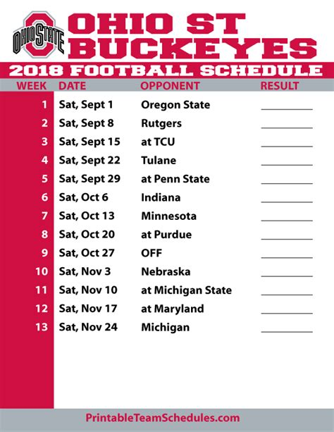printable schedule ohio state football 2015 2018 printable ohio state football schedule