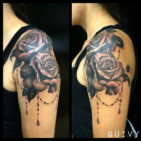 rose and beads tattoo roses guivy geneva switzerland