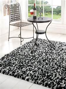 Soft Comfortable Modern Black White Shaggy Rugs Home