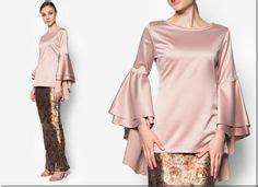 Ruffle Bell Sleeves Blouse Muslim Baju Atasan Wanita Felix Blouse Baju Kurung Moden Kain Songket Fesyen Trend Terkini Baju