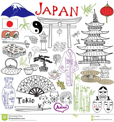 doodle japan japan doodles elements set with fujiyama