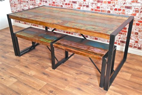 reclaimed wood timber barron dining set rustic industrial boat wood reclaimed dining set