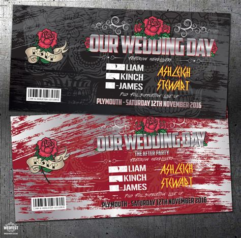 wedding invitations like concert tickets heavy metal festival rock and roll concert wedding