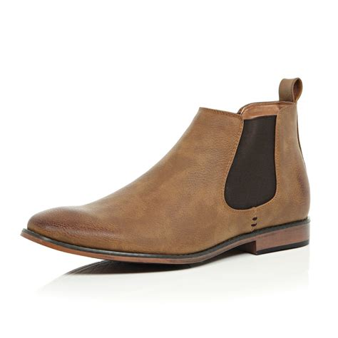 mens chelsea boots river island mid brown chelsea boots in brown for
