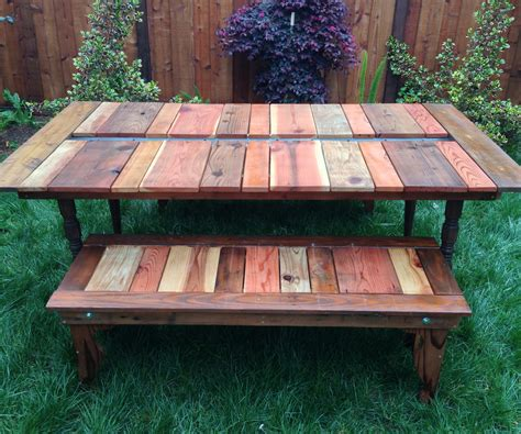 Handmade Picnic Table - creative and cool picnic table design for back yard and