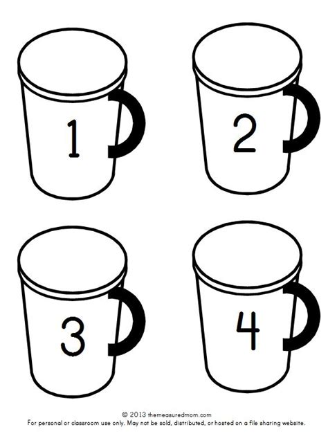 Hot Chocolate Math Free Printable Counting Mats The Measured Mom Chocolate Cup Template