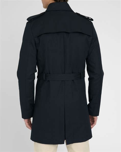 Coat 04 Navy m studio navy math 233 o breasted trench coat in blue