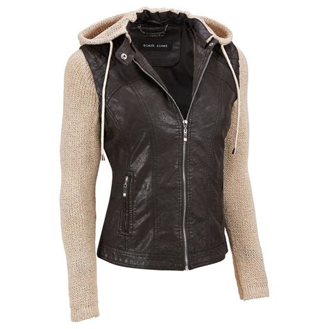Faux Leather Jacket faux leather jacket with knit sleeves sweater grey