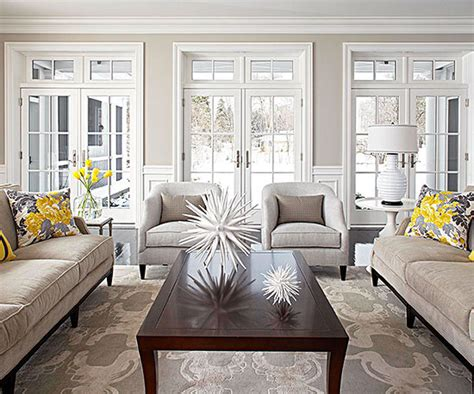 Taupe And Grey Living Room by Neutral Dove Grey Light Taupe Living Room With Yellow
