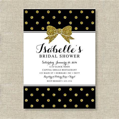 black and gold bridal shower invitations black and gold glitter bow bridal shower invitation polka dot