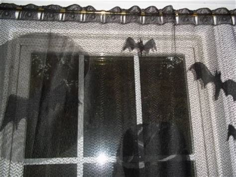 black gothic curtains black gothic halloween window sheer curtain mummy bat