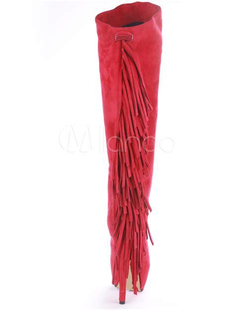 high heel fringe boots suede fringe high heel knee high boots milanoo