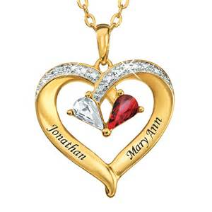 Forever together personalized gemstone amp diamond heart pendant main