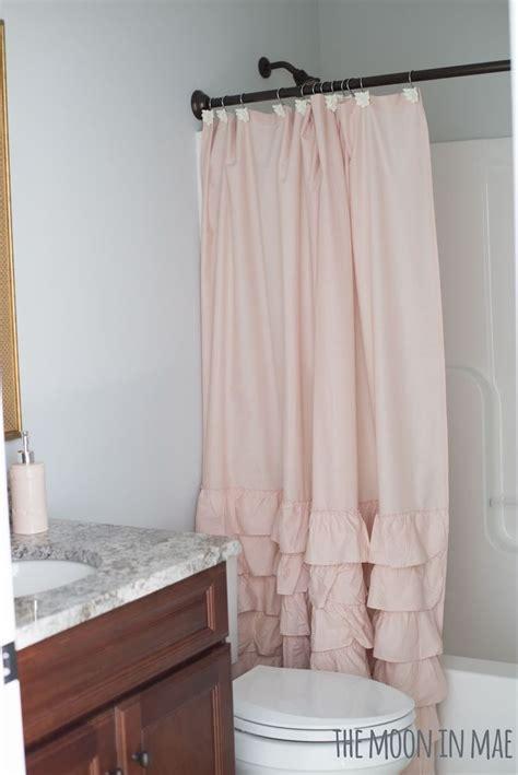 blush shower curtain studio bath reveal blush ruffled shower curtain lc