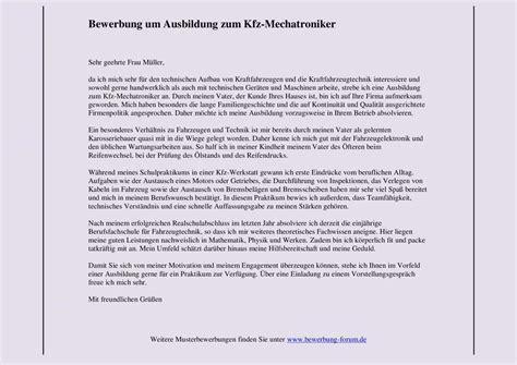 Bewerbung Fur It Bereich Bewerbung Kfz Mechatroniker Ausbildung Yournjwebmaster