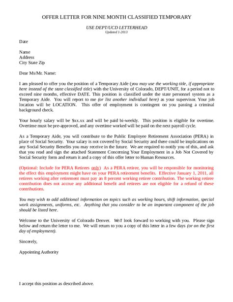 business letter template offer business offer letter sles formats exles in word