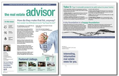 real estate newsletters templates real estate advisor newsletter template issue 7