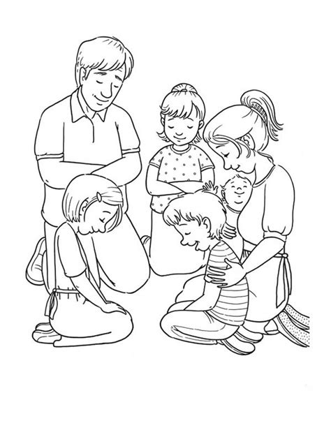 Coloring Pages Family Praying Together | coloring pictures of family members coloring pages