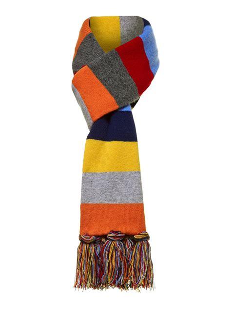 hackett multi stripe scarf in blue for lyst