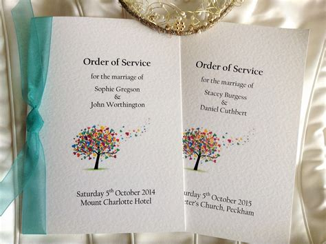 wedding order of service cards template tree wedding order of service books wedding stationery